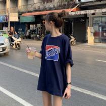 【預購】韓IG 歐膩愛的復古字母T-shirt洋裝(正韓製)