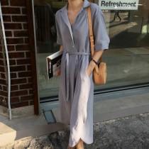 【預購】簡約控是我.復古大翻領襯衫長洋裝~2色