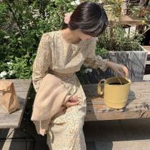 【預購】歐膩的衣櫃.質感女子小碎花綁帶雪紡長洋裝~3色