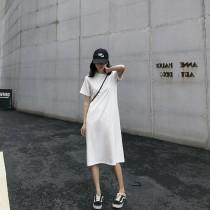 【預購】一件出門系列.版型很好的素色T-shirt長洋裝~2色