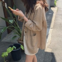 【預購】歐膩愛的.文藝風薄款棉麻西裝外套