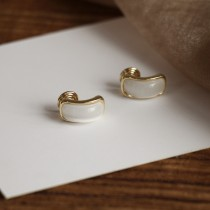 【預購】法式質感貓眼石925銀針耳環 / 無痛耳夾