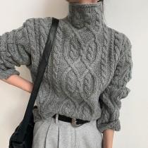 【預購】歐美重工質感.俐落灰 高領麻花毛衣