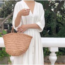 【預購】法式簡約V領收腰綁帶長洋裝~2色(正韓製)