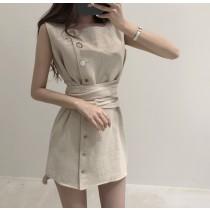 【預購】韓復古設計款方領無袖短洋裝~3色