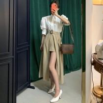 【預購】很有氣勢的法式高腰前開衩半身褲裙~2色