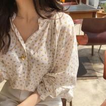 【預購】小黃碎花薄款襯衫上衣