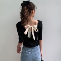 【預購】法式小眾U領蝴蝶結五分袖針織衫~2色