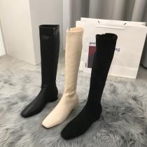 【預購】歐膩的鞋櫃.瘦腿必備彈力皮膝下長靴~3色