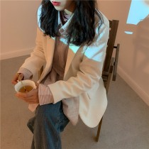 【預購】韓款 杏色燈芯絨復古西裝外套