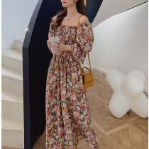 【預購】法式浪漫風.兩穿式花朵長洋裝