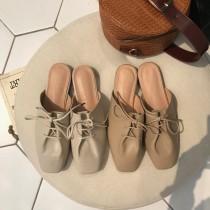 【預購】韓設計款方頭綁帶軟底穆勒鞋半拖鞋~2色
