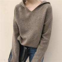【預購】法式慵懶風.日常百搭款連帽針織衫~8色(S~2XL)