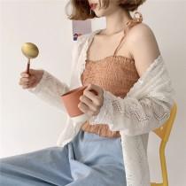 【預購】軟萌系女子的吊帶背心+縷空蕾絲小外套套裝(兩件需分開購買)
