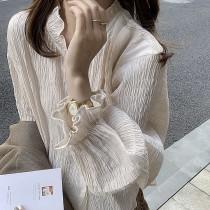 【預購】法式高級感.特殊立體感布料 設計款木耳邊襯衫