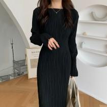 【預購】法式優雅風.圓領微正式鬆緊腰小黑裙長洋裝