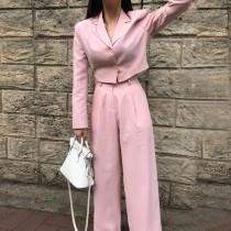 【預購】韓IG 淡粉色短版西裝外套+大長腿西裝褲套裝(上下需分開購買)