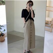 【預購】文藝女子專用.抽繩短袖襯衫+鬆緊腰排扣半身裙套裝(上下需分開購買)