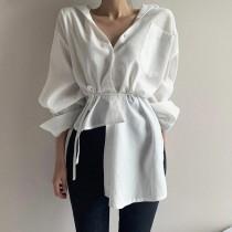 【預購】很有質感的設計款不規則長袖襯衫