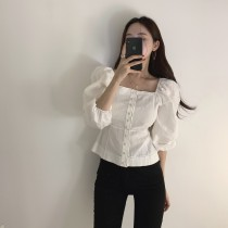 【預購】姐姐風.法式方領燈籠袖襯衫上衣~3色