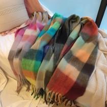 【預購】冬日暖心系列.彩虹格子仿羊絨大圍巾~4色
