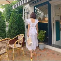 【預購】歐膩的美背洋裝.荷葉袖大露背長洋裝~3色