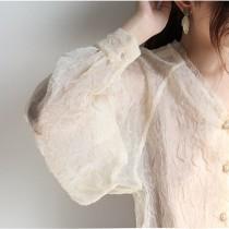 【預購】法式高質感.微立體雪紡布 透膚襯衫上衣