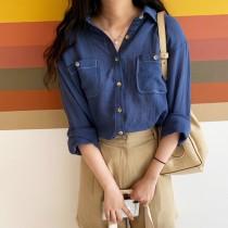【預購】知性女子專用.復古慵懶風薄長袖襯衫~2色