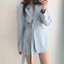 【預購】歐膩的衣櫃.兩種穿法 法式質感附綁帶西裝外套~4色