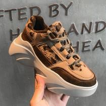 【現貨】不退流行款.多材質拼接豹紋增高老爹鞋(黑色39)