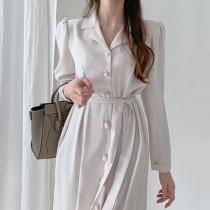 【預購】優雅女伶.法式西裝領排扣襯衫洋裝~2色