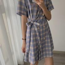 【預購】日系學院風.質感西裝領藍紫色格紋洋裝