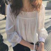【預購】法式花邊方領棉麻襯衫上衣