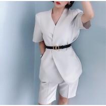 【現貨】法式質感短袖西裝外套 + 腰帶