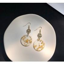 【預購】文藝風.金箔圓片耳勾耳夾式耳環