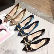 【預購】歐美風.金屬方塊緞面金跟高跟鞋~3色