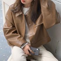 【預購】歐膩的衣櫃.率性百搭款 短款PU皮外套~2色