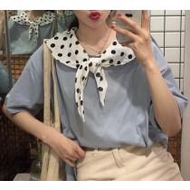 【預購】韓IG 拼接圓點絲巾短袖T-shirt~2色