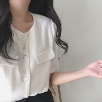 【預購】韓IG 微復古百搭款短袖襯衫上衣