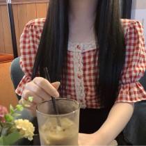 【預購】日常可以穿的.微復古宮廷風格子襯衫~2色