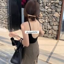 【預購】俐落女子.可單穿可內搭的後U領小背心(含胸墊)~8色