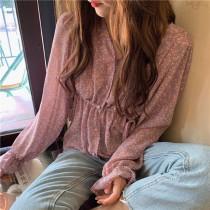 【預購】韓IG 浪漫風紫色碎花雪紡上衣