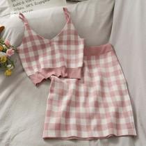 【預購】復古甜美風.格紋針織背心+半身裙套裝~6色