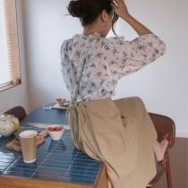 【預購】歐膩愛的碎花襯衫 + 設計款細帶吊帶裙套裝(上下需分開購買)