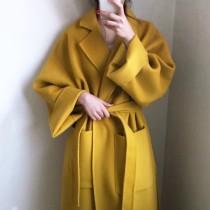 【預購】特殊色系.貴氣感 綁帶西裝領毛呢大衣外套~2色