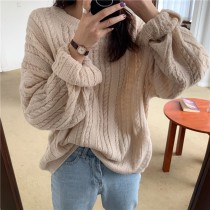 【預購】慵懶風麻花紋寬鬆薄毛衣~5色