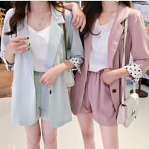 【預購】春夏繽紛色系薄款西裝外套 + 短褲套裝~6款(S-XL)
