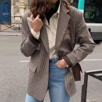 【預購】韓系復古風.質感千鳥格西裝外套