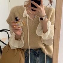 【預購】超舒服!氣質女子 天絲木耳邊內搭襯衫