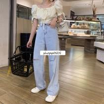 【預購】Lisa褲!超柔軟薄款割破牛仔寬褲(S~XL)